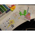 Some of the students colouring.