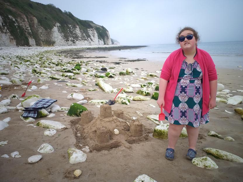 Building a sandcastle at Danes Dyke