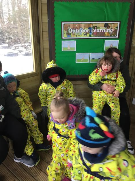 Story time in the outdoors classroom.
