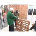 Building a manger.