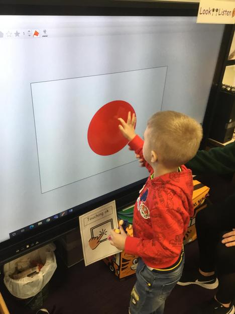 Using the fill button on an art package to create a red nose