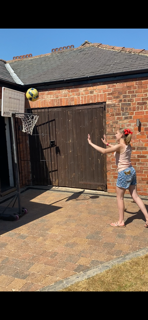 Shooting some hoops.
