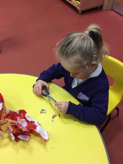 Developing our scissor skills.
