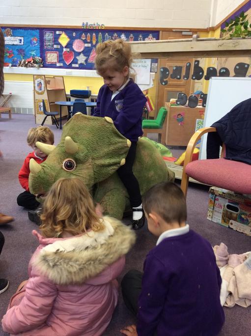 The dinosaur was very friendly.