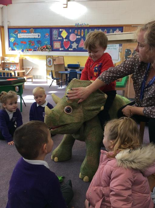 Mrs Devine told us all about her pet dinosaur.