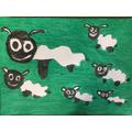 Six wooly lambs,
