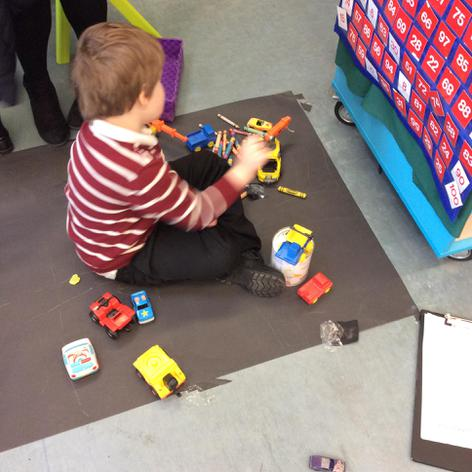 Drawing a road for the cars.