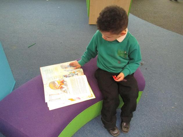 Enjoying a book.