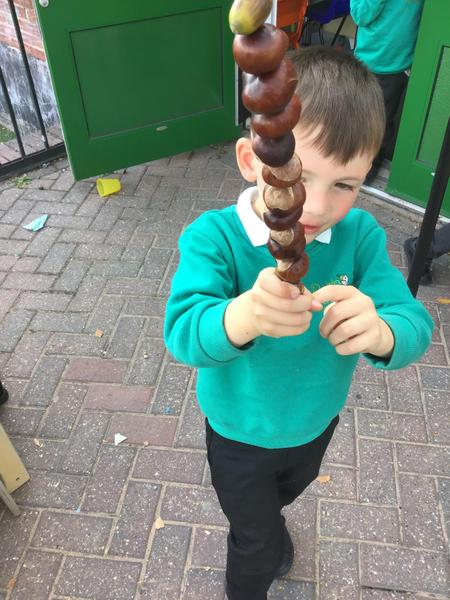 A completed conker kebab!