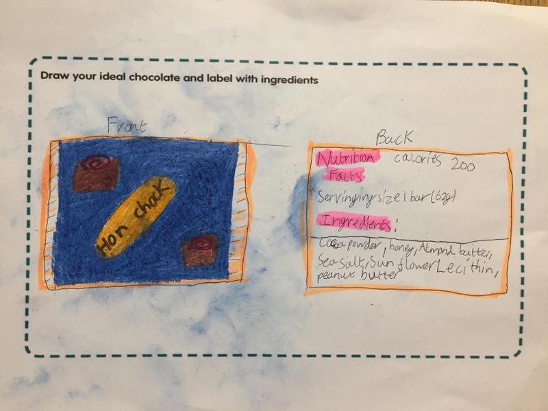 Adam designed the wrapper for his chocolate bar.