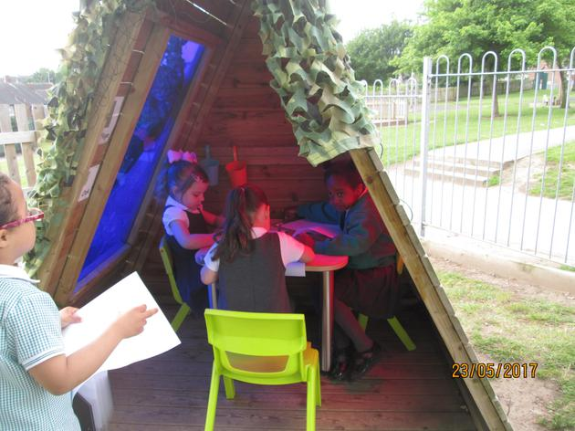 Outdoor writing area.