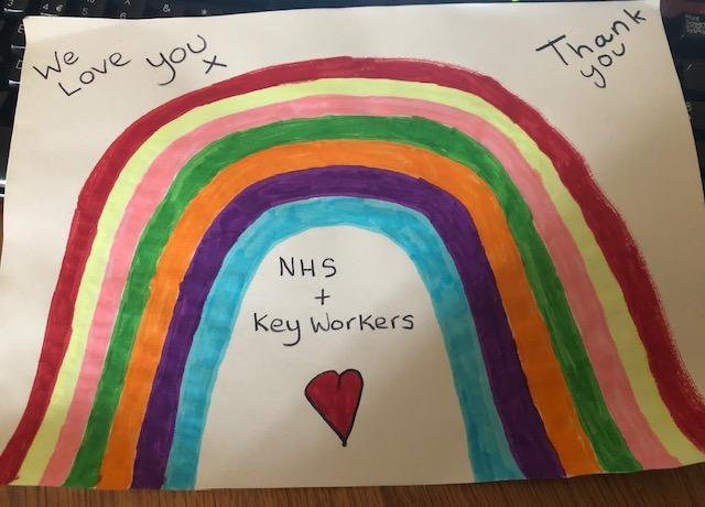 Regan's rainbow of support for the NHS.