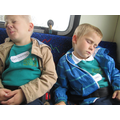 Tired children on the way home.