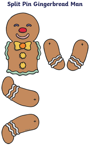 Cut out the parts of the gingerbread man and put him back together!