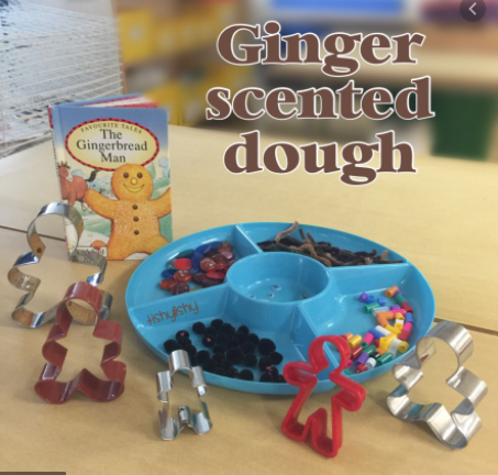 Why not have some ginger scented pay dough to explore?