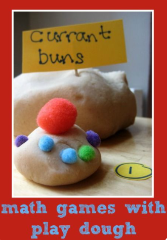 Make some play dough currant buns, add pom poms/pasta to count
