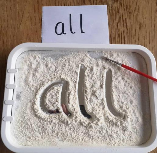 Tuesday- Can you write 'ay' or words that include 'ay' - You can use rice, flour etc.