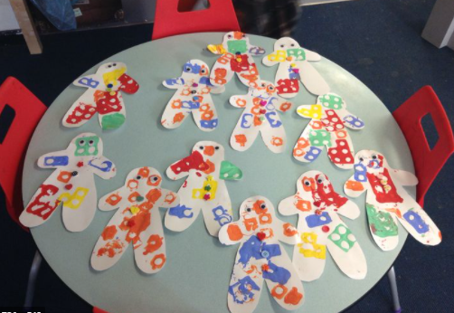 Why not use a potato print, block or vegetable print to add paint to your gingerbread man.