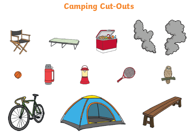 Cut out the objects and stick them on the camping background.