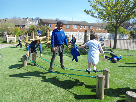 Showing off their tightrope walking skills!