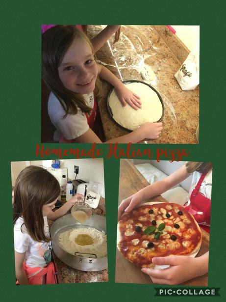 Angelina has been busy making her own pizza.
