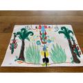 Isobel's print design inspired by William Blake