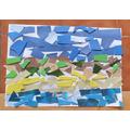 H's mono print collage of a beach