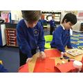Making Chinese lanterns.
