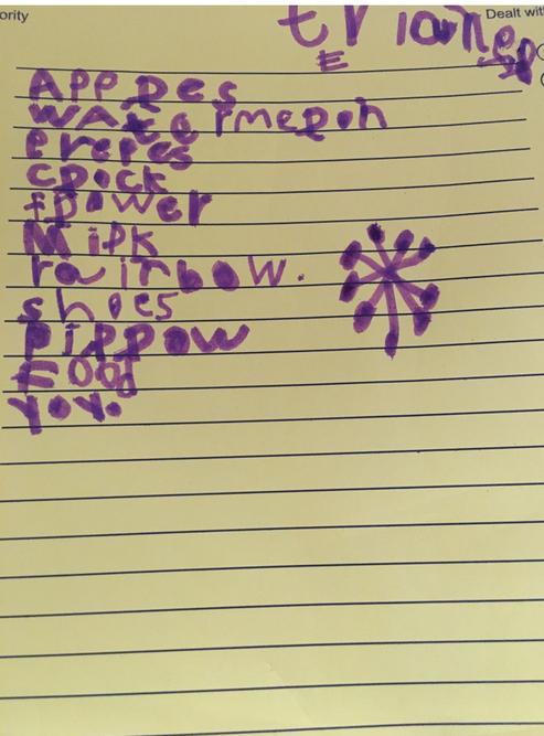 Sara's shopping list