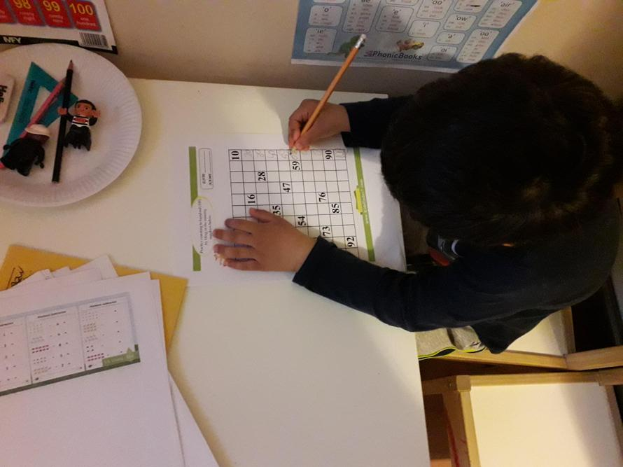 Filip has been practising writing numbers