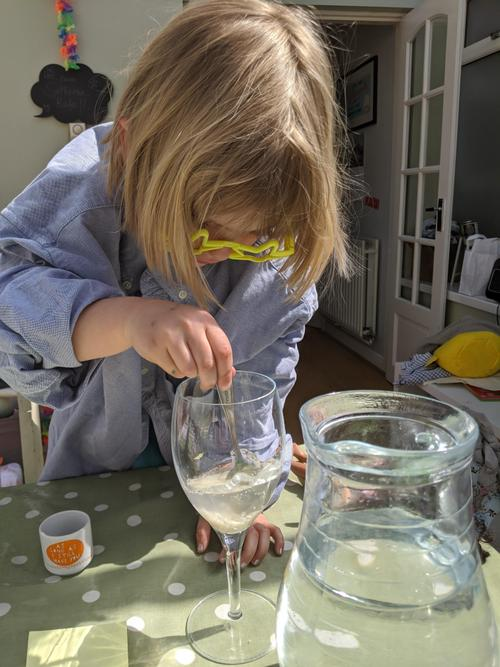 Elspeth having fun with her dissolving experiment