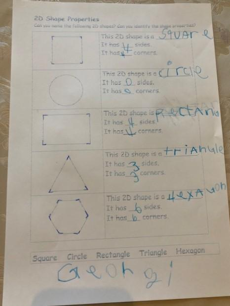 Georgi has recorded the properties of 2d shapes.