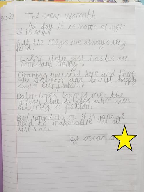 Oscar's fantastic writing.