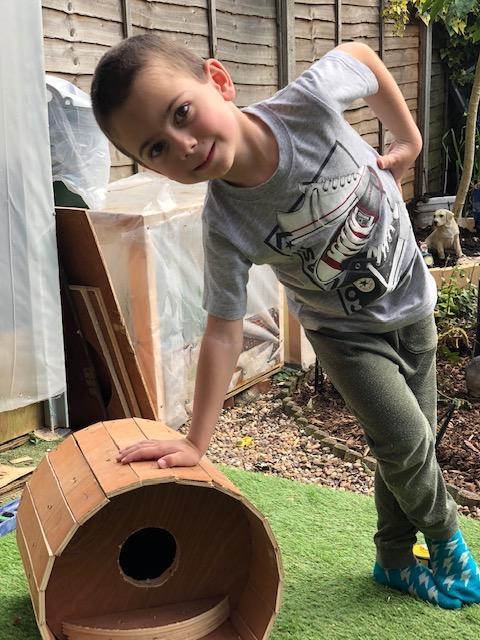 Georgi helps daddy to make a bird house - wow!