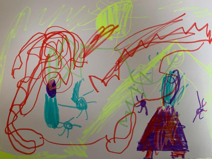 Maya's amazing picture of Rapunzel with aliens.
