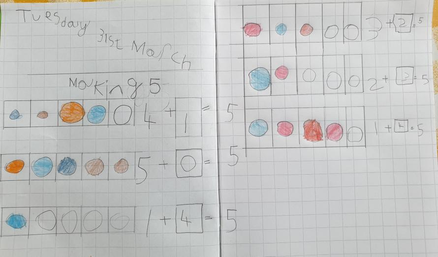 Fatimah has shown different ways of making 5.