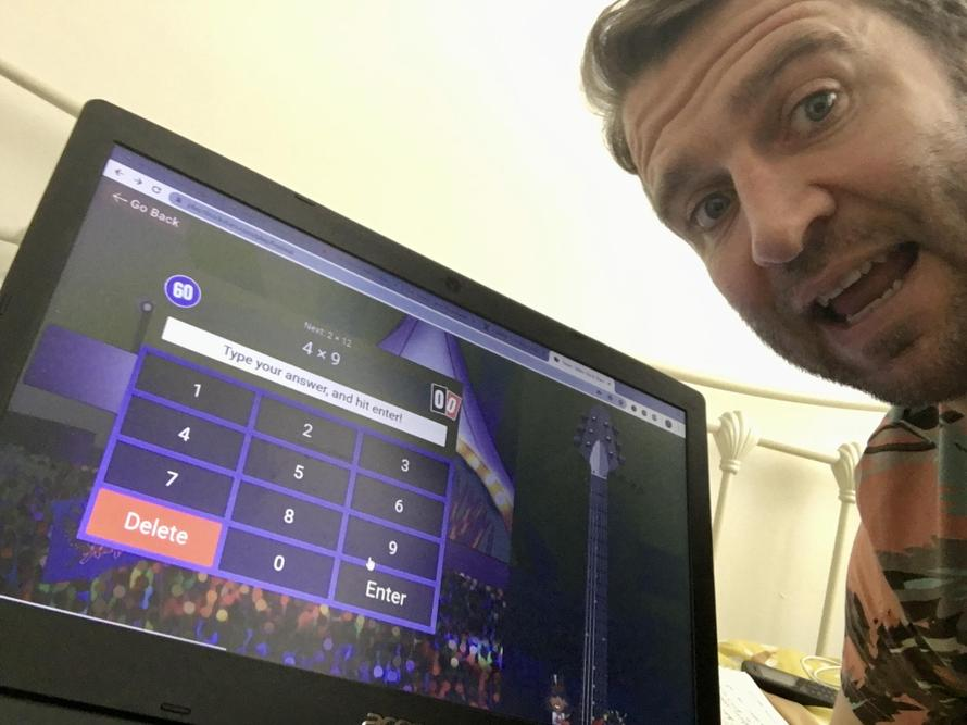 Mr Harris 'rocking out' on TimesTablesRockstars!