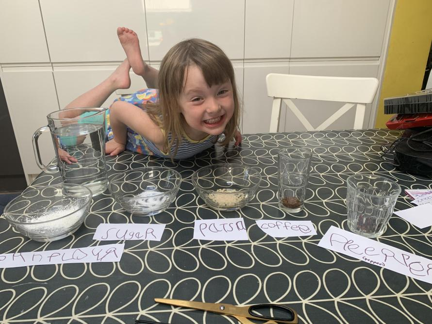 Maya is ready to start her dissolving experiments
