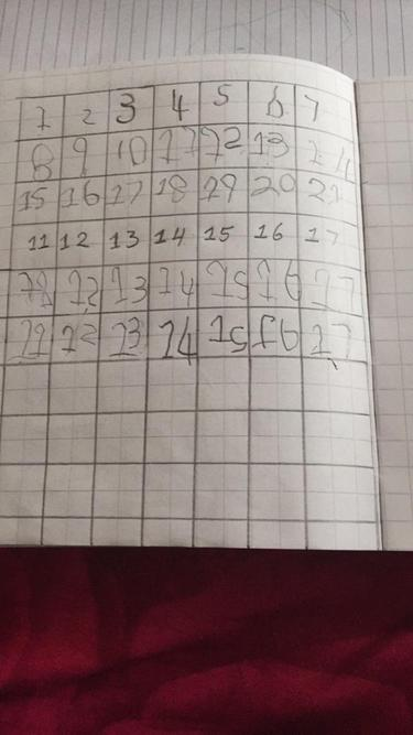 Hana is practising writing her numbers!