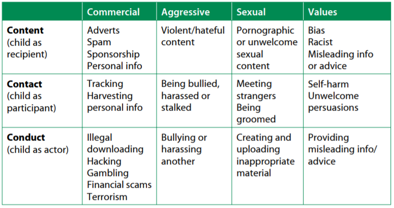 Table taken from Safer Children in a Digital World: The Report of the Byron Review (2008)