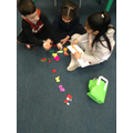 We used objects we found to help us tell the story to our friends.