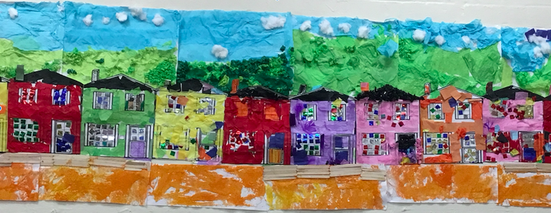 Balamory houses collaged by Year 2