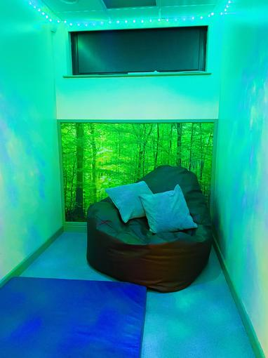 This is one of our balance rooms. We can come here to self regulate and calm our senses.