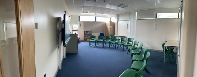 This is our group room where we do our acting, dancing and class learning.