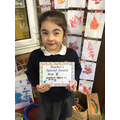 MIa B in RR - For trying really hard with her writing activities