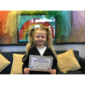 Mia S in RW for her amazing progress in reading and phonics
