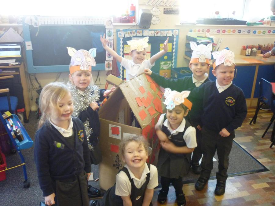 The class worked together to create a house