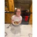 Orla making pancakes.