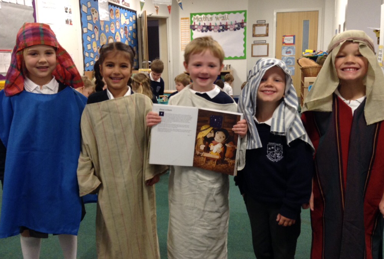 Willow Class re-enacting Open the Book assembly