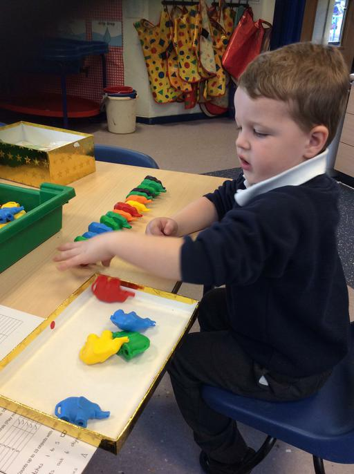 Ethan practising his counting skills.